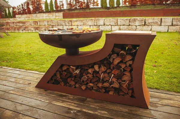 Design- Feuerstelle, L-Form, Viereck
